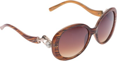 Vast Women21032_Brown_Line Oval Sunglasses(Brown)