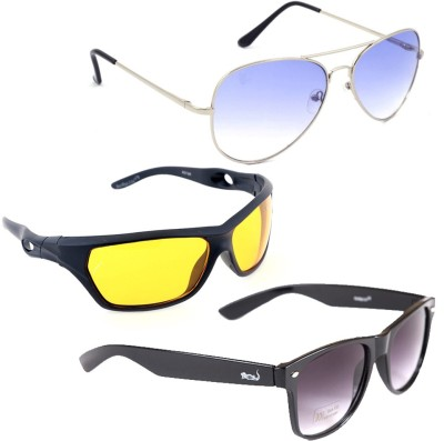 Elligator GNW-016 Aviator, Sports, Wayfarer Sunglasses(Multicolor) at flipkart