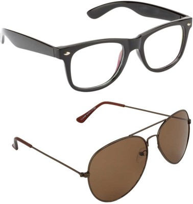 Allen Cate Combo of Dark Brown Aviator & Anti Reflection Wayfarer Sunglasses