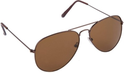 Agera Agera AG1001 full brown aviator sunglass Aviator Sunglasses(Brown)