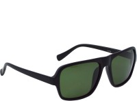 Red Knot MP122-MBLK-MBLK-GRN-50 Rectangular Sunglasses(Green)