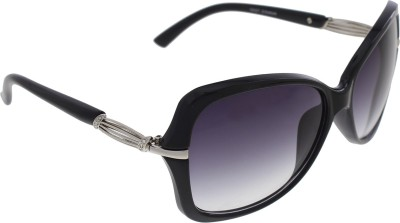 Vast WOMENS _1435_STRIPES_BLACK Over-sized Sunglasses(Grey)