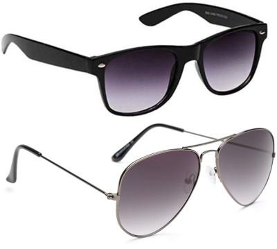 Gansta GN-3006-Blk-GN-3002-Gun-GD Aviator, Wayfarer Sunglasses(Grey)