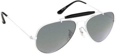 Gansta Gansta GN-3021 white aviator sunglass Aviator Sunglasses(Grey)