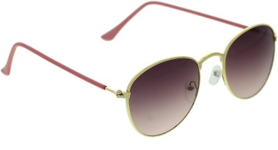 Vast twice_Round_METAL_GOLD_PINK Round Sunglasses(Pink)
