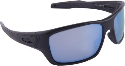 Oakley Turbine Polished Black w/Prizm Deep Water Polarized Wrap-around Sunglasses at flipkart