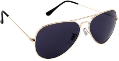Agera Agera AG1001 gold with black lens aviator sunglass Aviator Sunglasses(Black)