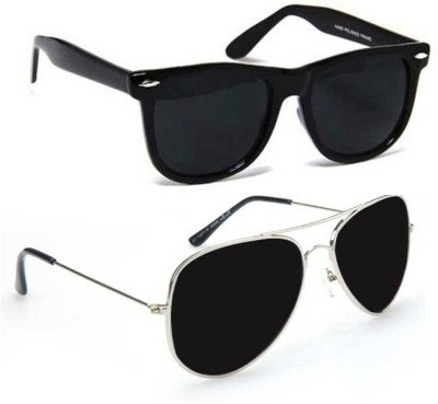 Epic Ink ncm012 Aviator, Wayfarer Sunglasses(Black, Black)