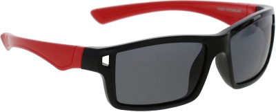 Vast KIDS_WRAP_AROUND_RECTANGLE_BLACK_RED Rectangular Sunglasses(For Boys)
