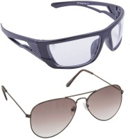 Blackburn BB20BrnBrnGradient-BB872BlkClear Aviator, Spectacle , Oval, Wrap-around Sunglasses(For Boys)