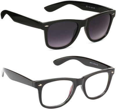 Allen Cate Combo of Anti Reflection & Black Dual Shade Wayfarer Sunglasses