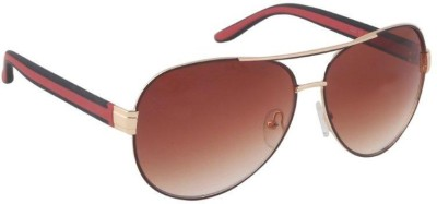 Gansta Gansta GN-11083 Gold aviator sunglass Aviator Sunglasses(Brown)