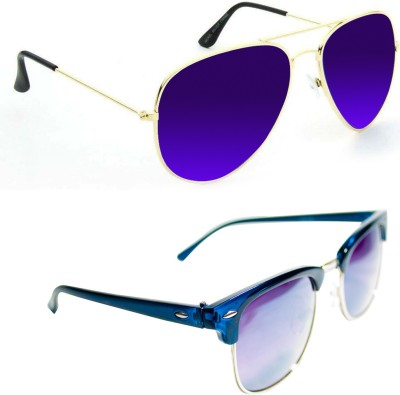 Epic Ink sg5490 Aviator, Round Sunglasses(Violet, Grey)
