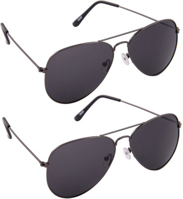 Allen Cate Combo of Two Black Aviator Sunglasses
