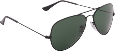 Gansta Gansta GN-3002 Classic Black with greenish grey lens aviator sunglass Aviator Sunglasses(Green)