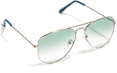 Allen Cate Silver Dual Shade Green Aviator Sunglasses