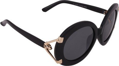 Qwerty Black And Golden Leopard Round Sunglasses