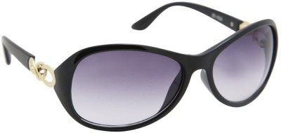 Gansta Gansta ZE-1032 Black Oval sunglass with decorative temple Oval Sunglasses(Black)