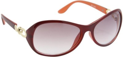 Gansta Gansta ZE-1032 Orange Oval sunglass with decorative temple Oval Sunglasses(Brown)