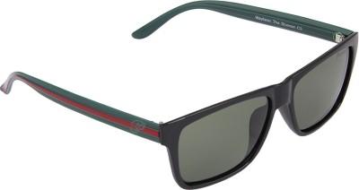PANACHE Black-Green-Red frame-Green B2 Polarised Lens Wayfarer Sunglasses