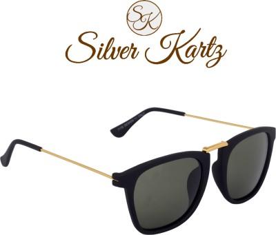 Silver Kartz Luxury Thin-Temple Wayfarer, Rectangular Sunglasses