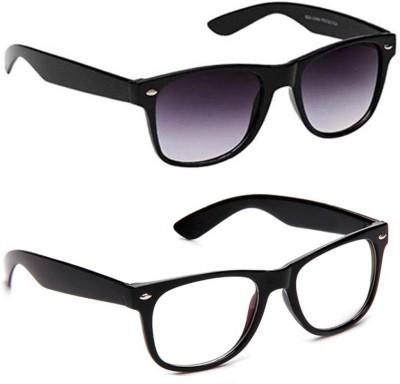 Gansta GN3030Blk-GN3006BlkGD Wayfarer Sunglasses(Grey, Clear)