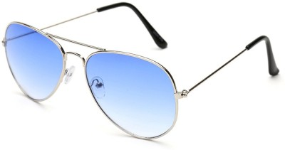 Agera Agera AG1001 silver with ocean blue lens aviator sunglass Aviator Sunglasses(Blue)