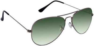 Agera Agera AG1001 grey with green lens aviator sunglass Aviator Sunglasses(Green)