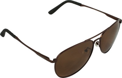 QWERTY Brown Polarized Aviator Sunglasses