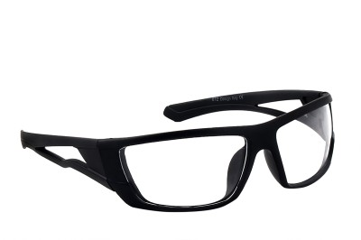 Feel Men Black Sporty Frame With Clear Lens 100% UV Protected Medium-58 Wrap-around Sunglasses