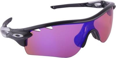 Oakley RadarlockPolBlkw/PrizmTrail&Clear Vtd. Wrap-around Sunglasses