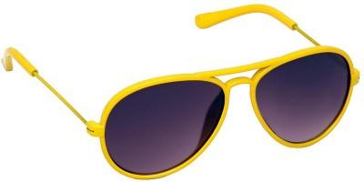 Spiky R15-SHINNY YELLOW-BLK Aviator Sunglasses(Black)
