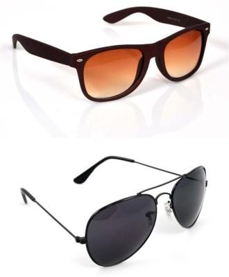 Candid Combo Pack OF 2 Wayfarer, Aviator Sunglasses(Brown, Black)