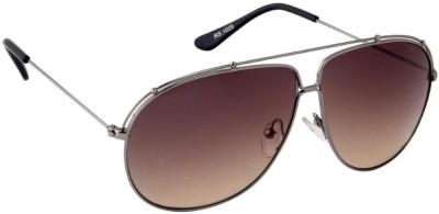 Gansta Gansta RS-1025 Grey sunglass Aviator Sunglasses(Brown)