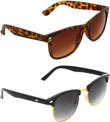 Zyaden COM543 Wayfarer, Clubmaster Sunglasses(Brown, Green)