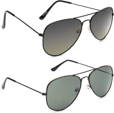 Gansta GN-3002-Blk-G15-GN-3002-Blk-Grn Aviator Sunglasses(Green)