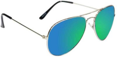 Epic Ink gbsil8618 Aviator Sunglasses(Green, Blue)
