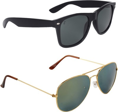 Zyaden COMAI38 Wayfarer, Aviator Sunglasses(Black, Green)