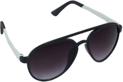 Gansta Gansta GN-11068 Black & white aviator sunglass Aviator Sunglasses(Grey)