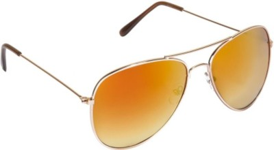 Agera Agera AG1004 Gold with yellow mirror lens aviator sunglass Aviator Sunglasses(Orange)