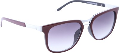 Gansta Gansta ZE-1026 Maroon & White rectangular wayfarer sunglass with gradient lens Wayfarer Sunglasses(Brown)