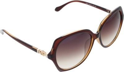 Vast WOMENS _2830_DIAMOND_NET_Brown Over-sized Sunglasses(Brown)