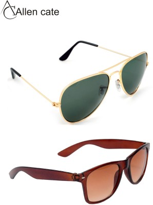 Allen Cate Combo of Golden Green & Dual Shade Brown Wayfarer Sunglasses