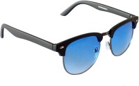 Galaxy Corp 3016-MBLACK-BLUE Round Sunglasses(Blue)