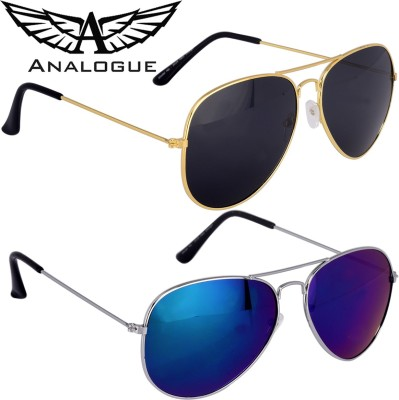 ANALOGUE Combo of 2 Reflector and black Aviator Sunglasses