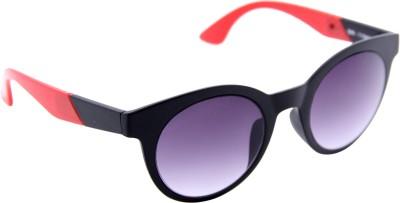 Gansta Gansta GN-11045 Black & Red round sunglass with gradient lens Oval Sunglasses(Grey)