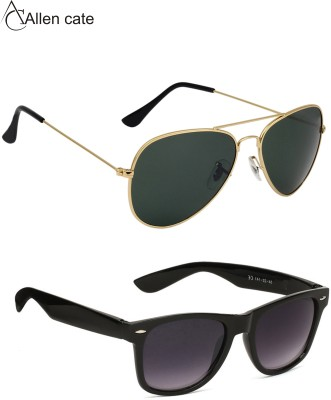 Allen Cate Combo of Dark Green Aviator, Wayfarer Sunglasses