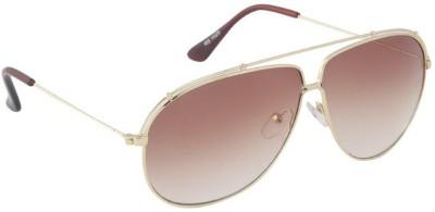 Gansta Gansta RS-1025 Gold sunglass Aviator Sunglasses(Brown)