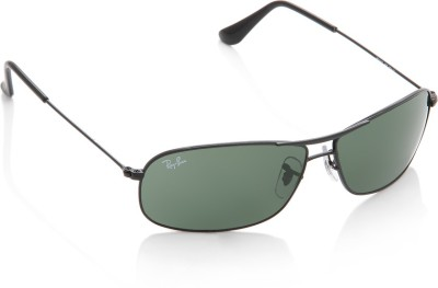 Ray-Ban 0RB3411I 002 Rectangular Sunglasses(Green) at flipkart
