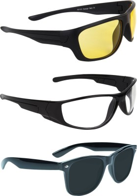 Zyaden COM384 Wrap-around Sunglasses(Yellow, Clear, Black)